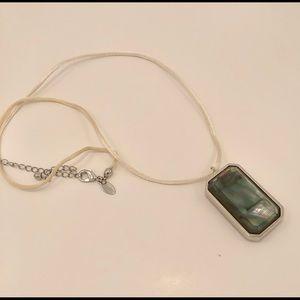 Reversible jade tone/moonstone type stone necklace